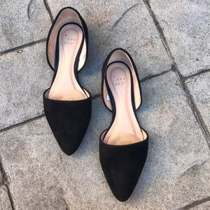 A New Day Black d'Orsay Pointy Toe Suede Flats